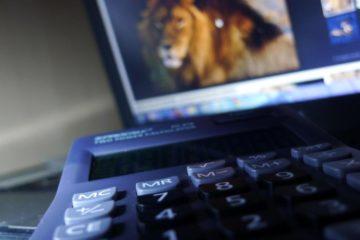 Declaração de Imposto de Renda 2019 - calculadora sobre a mesa e notebook com uma foto de leão desfocada no fundo