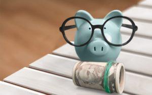 porquinho de oculos em cima de um rolo de dinheiro